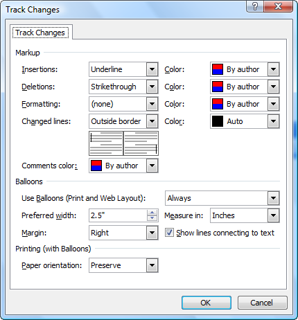 how to put trackges on word
