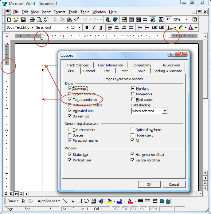 Basic formatting in microsoft word intermediate users guide to text boundaries display of margins spiritdancerdesigns Images