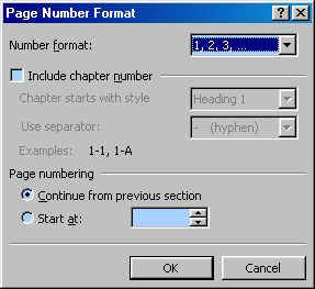 how to change header page number to different format word